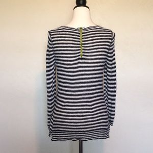Anthropologie Sweaters - Anthropologie green zipper striped top